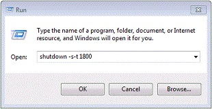 Выеключить компьютер через 30 минут